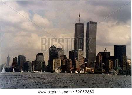 NEW YORK CITY - SEPTEMBER 19: The twin towers of the  World Trade Center and lower Manhattan on September 19, 1998 in New York