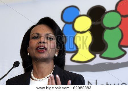 VIENNA, AUSTRIA - MAY 31: United States Secretary of State Condoleezza Rice speaks  at  the Women Leaders Networking for Peace and Security in the Middle East conference in Vienna, Austria, on Thursday, May 31, 2007