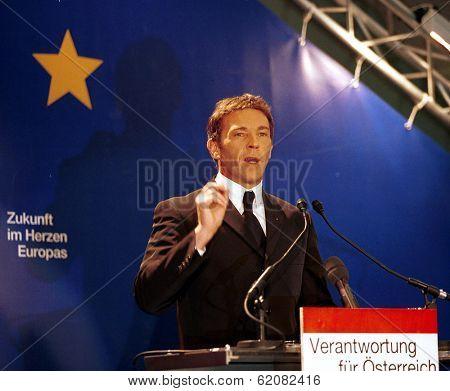 VIENNA, AUSTRIA - FEB 3: Austrian far-right politician Joerg Haider speaks in Vienna, Austria, on Thursday, February 3, 2000. Haider's past admiration for Adolf Hitler drew international criticism. Haider died in 2008.