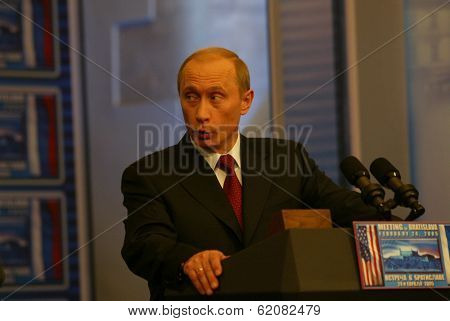 BRATISLAVA, SLOVAKIA - FEBRUARY 24: Russian president Vladimir Putin  at a press conference with United States President George W. Bush after their summit in the Slovak capital, Bratislava on February 24, 2005 in Bratislava, Slovakia