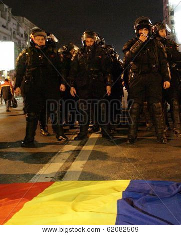 Demonstrators protest against a series of unpopular BUCHAREST, ROMANIA - JAN 19: Demonstrators protest against a series of unpopular austerity measures enacted by the government in Bucharest, Romania, on Thursday, January 19, 2012.measures enacted by the