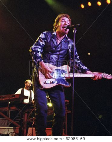 WASHINGTON D.C. – SEPT 21: New Jersey born rock star Bruce Springsteen performs a concert in Washington D.C. on Sept. 21, 1994.  (Quality Note: Grain)