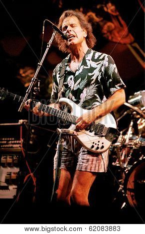 EAST RUTHERFORD, NEW JERSEY - AUGUST 3: The Grateful Dead in concert in East Rutherford, New Jersey, on Sunday, August 3, 1994. Seen here is guitarist Bob Wier.