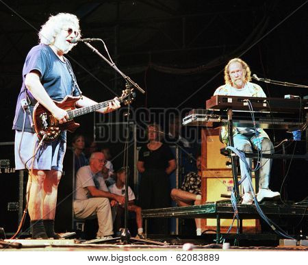 EAST RUTHERFORD, NEW JERSEY - AUGUST 3: The Grateful Dead in concert in East Rutherford, New Jersey, on Sunday, August 3, 1994. Seen here is Jerry Garcia, at left, and Vince Welnick on keyboards.