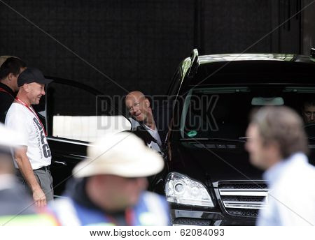 BUDAPEST - MAY 19: Actor Bruce Willis laughs it up with crew members on the set of Die Hard 5: A Good Day To Die Hard currently being filmed in Budapest, Hungary, on Saturday, May 19, 2012.