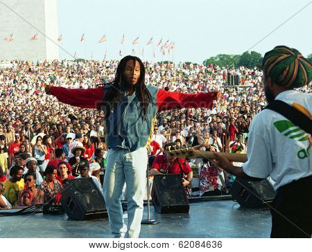 WASHINGTON, D.C. - JULY 4, 1994: Reggae musician Ziggy Marley in concert on the Mall in Washington, D.C., on July 4, 1994.