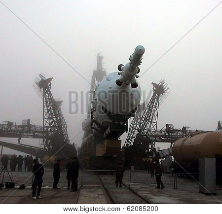 BAIKONUR COSMODROME - OCTOBER 29:  The Soyuz TM-31 rocket at the launchpad at the Russian Cosmodrome in central Kazakhstan on October 29, 2000.