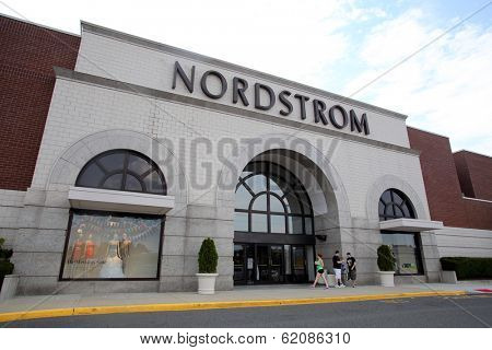 PARAMUS - JULY 9: Shoppers walk past a Nordstrom department store in Paramus, New Jersey, on Tuesday, July 9, 2013. Nordstrom is a major clothing retailer.