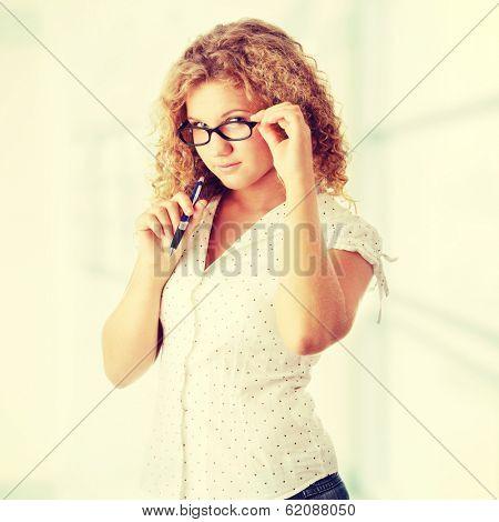 Beautiful corpulent caucasian student girl