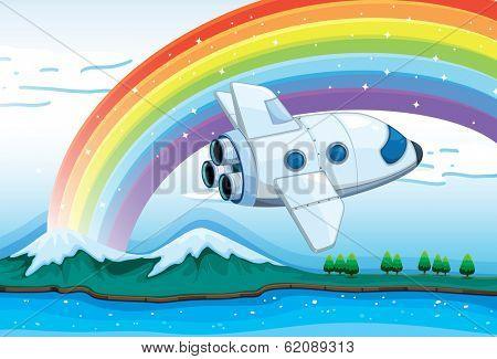 Illustration of a jetplane near the rainbow