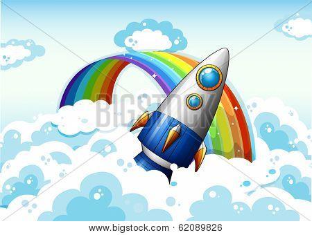 Illustration of a rocket near the rainbow