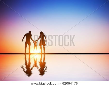 Happy family together, parents and their child at sunset, water reflection.