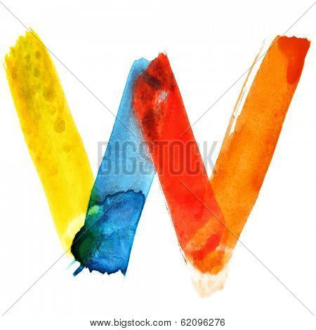 Letter W - colorful watercolor alphabet