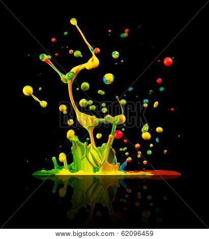 """Super macro shot of colored paint splashes """"dancing"""" on sound waves, isolated on black background poster"""