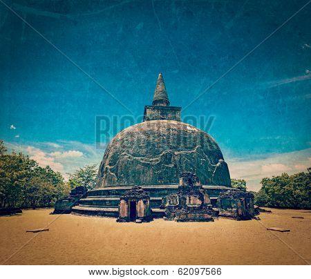 Vintage retro hipster style travel image of Kiri Vihara - ancient dagoba with grunge texture overlaid. Pollonaruwa, Sri Lanka poster