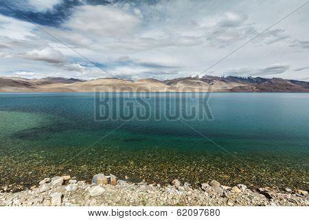 Himalayan mountain lake in Himalayas Tso Moriri (official name: Tsomoriri Wetland Conservation Reserve), Korzok,  Changthang area, Ladakh, Jammu and Kashmir, India poster