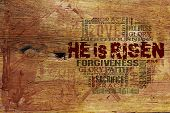 Religious Words on Wood Background ideal for church projects poster