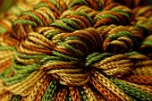 Photo of green yellow and orange yarns poster