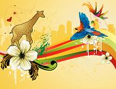 animals in the city vector illustration composition over a yellow background poster