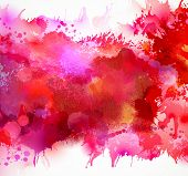 Bright watercolor stains with red blots poster