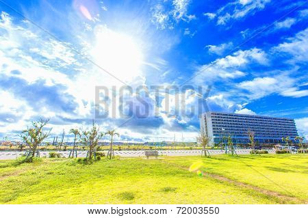 Tropical resort and blue sky of Okinawa