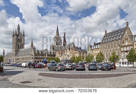 Panorama Of Grote Markt Square In Ypres