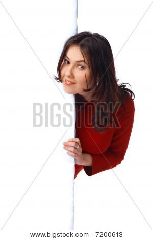 Girl Peeping Over A Billboard