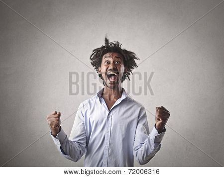 Businessman jubilating