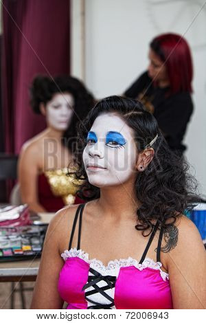 Performer In White Makeup