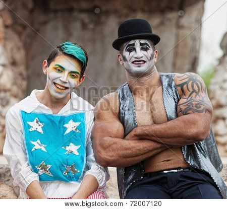 Strong Man With Cirque Clown