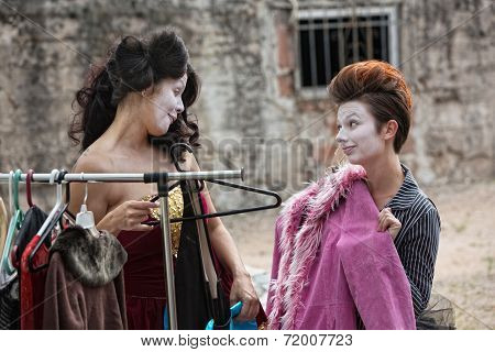Female Actors Fitting Coat