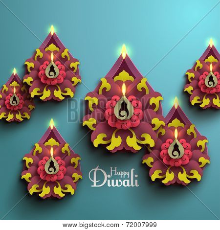 Vector Diwali Diya (Oil Lamp).