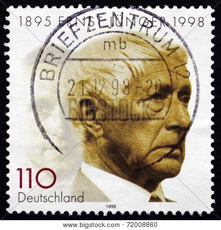 Postage Stamp Germany 1998 Ernst Junger, German Writer