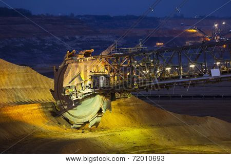 Bucket Wheel Excavator At Night