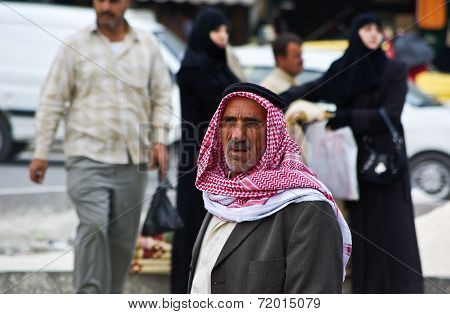 Old Arabic Man With Traditional Keffieh