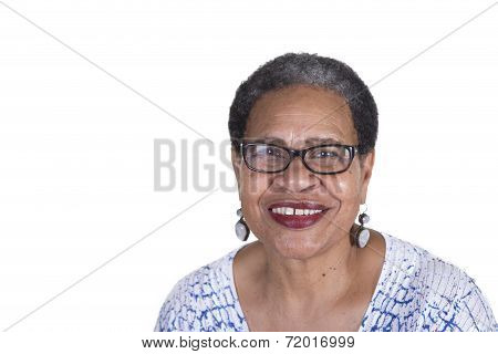 Attractive senior woman isolated on a white background