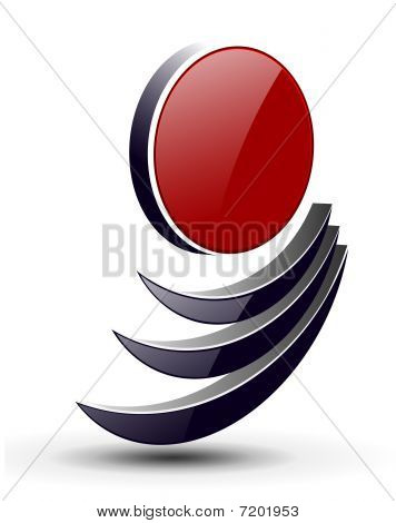 3d abstract dynamic shape,  black and red vector. poster