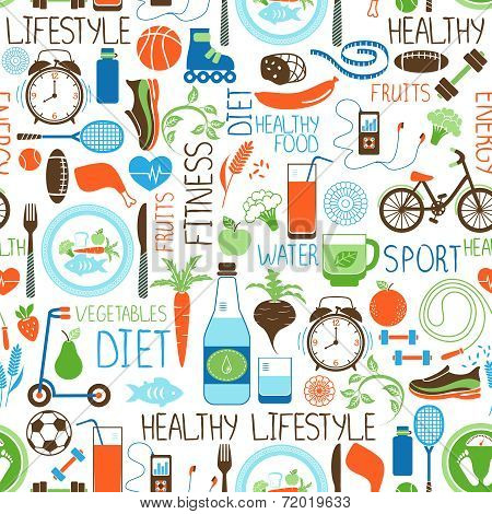 Sport, Diet and Fitness vector seamless background pattern with icons depicting various sports  vegetables  cereals  seafood  meat  fruit  sleep  weight and beverages poster