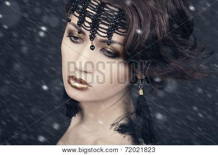 Snow Queen, creative closeup portrait