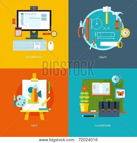 Vector education icons set for web design, mobile apps.
