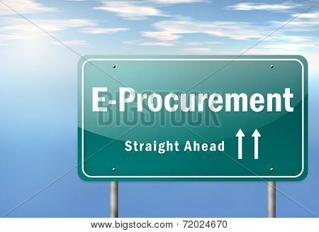 Image Graphic Highway Signpost with E-Procurement wording poster
