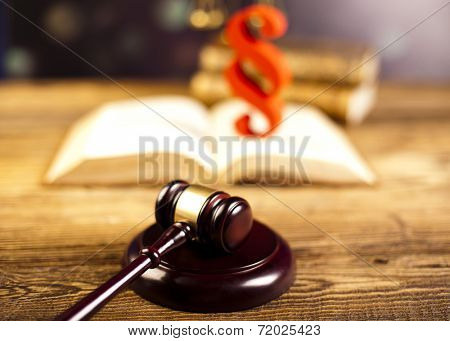 Judges wooden gavel and paragraph