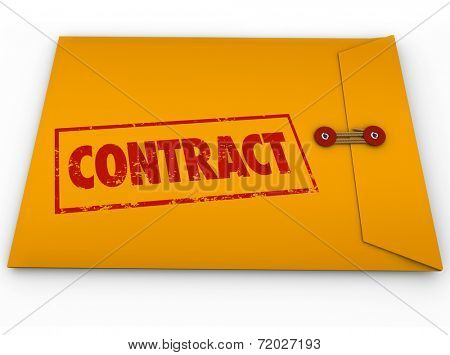Contract word stamped in red ink on a yellow envelope containing official papers, deals or business documents for you to sign or file