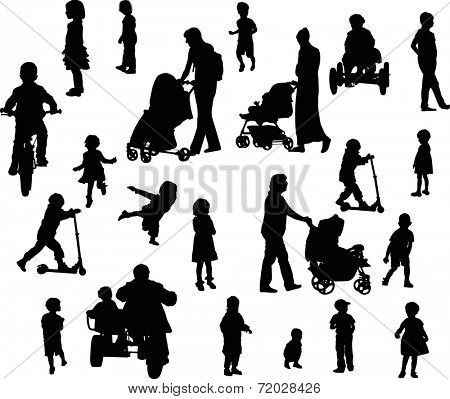 illustration with parents and children silhouettes isolated on white background
