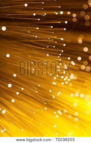 Golden glowing fibre optic