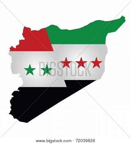 Flag of Syria and Syrian opposition overlaid on outline map dividing the county isolated on white background poster