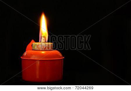 Lit Oil Lamp