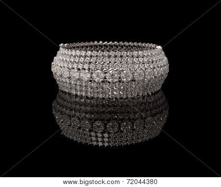 Close up of diamond bracelet