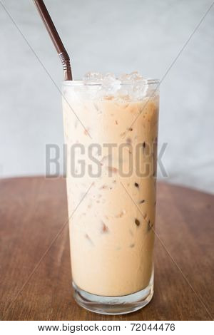 Fresh Brewed Ice Coffee On Wooden Table
