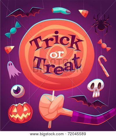 Big lollipop. Halloween poster \ background \ card. Vector illustration.